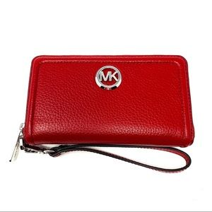 NWT Michael Kors Fulton Red Wallet Phone Wristlet